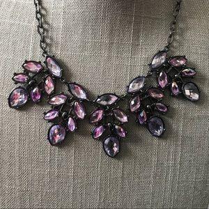 Jewelry - Black gunmetal pink rhinestone statement necklace